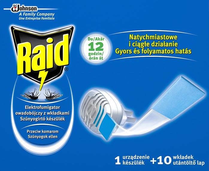 Raid elektrický hubič hmyzu suchý + 10 náplní