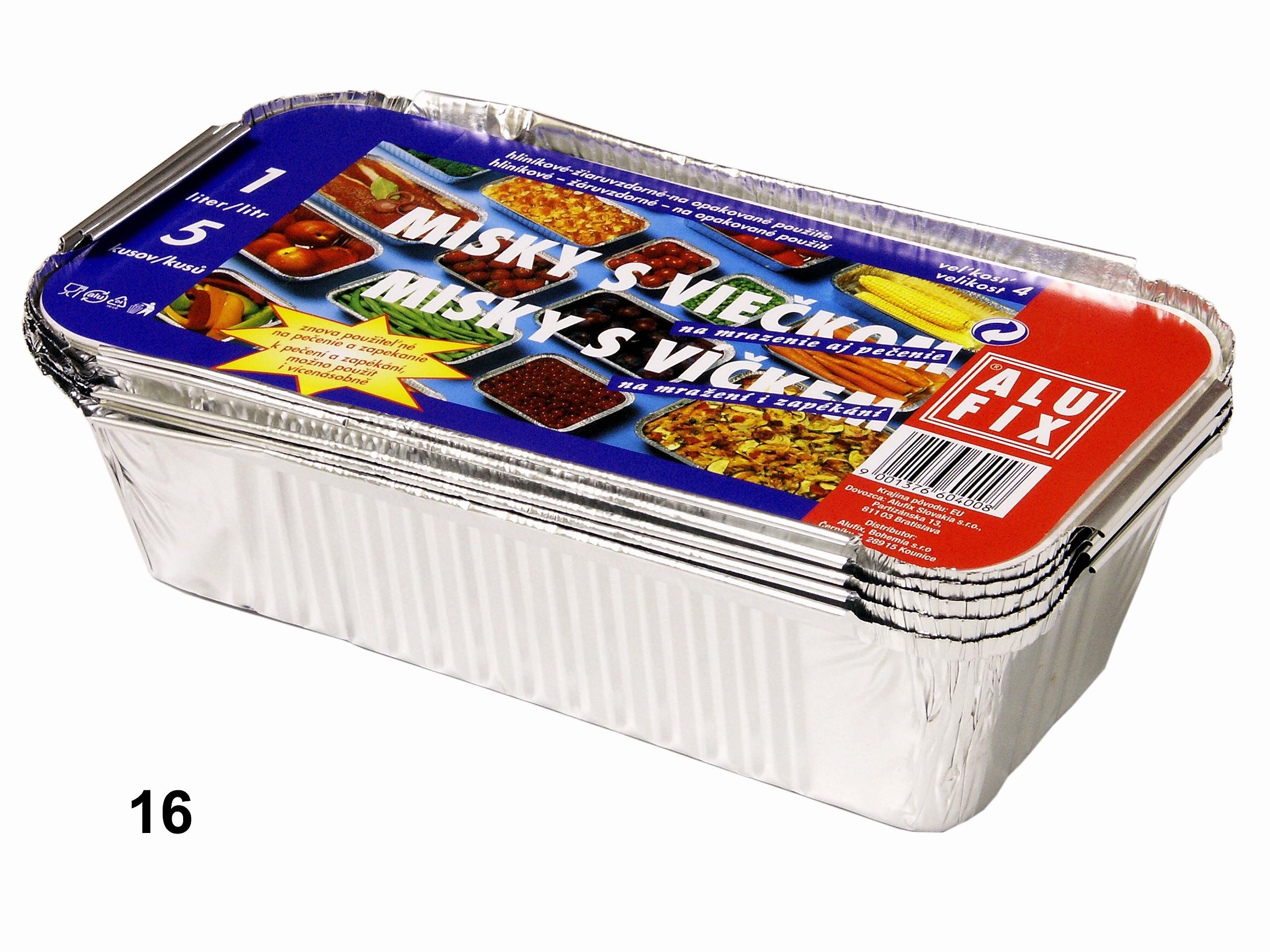 Miska č.4  1l 5ks+víčka Alufix